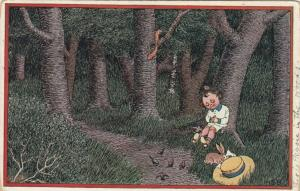AS; HSB, Child asleep in the woods, woodland animals, 1900-10s; TUCK # 977