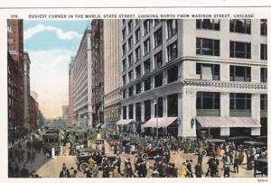 Illinois Chicago State Street Looking North From Madison Street Curteich