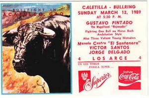Mexico - Bull Fight Ad Card 1989