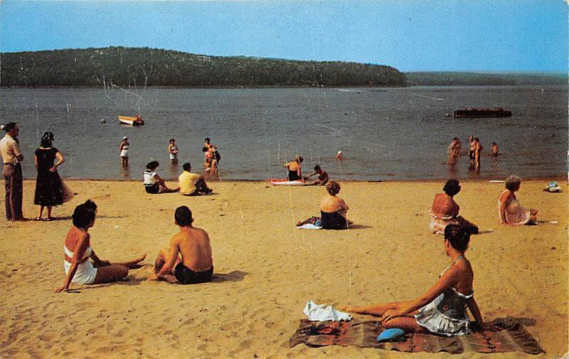 Bathing and Sun Soaking at Island View Inn Beach, Pocono Mountains 1964