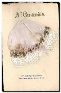 Old Postcard Fancy Embroidery Bonnet St Catherine