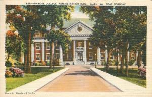 Salem Virginia~Roanoke College Administration Building~1940s Linen Postcard