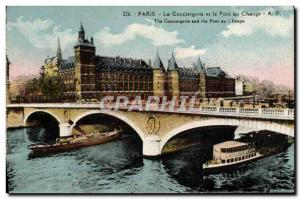 Old Postcard Paris La Conciergerie And Bridge Boat At Peniche Change