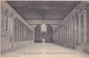 Abbaye -Refectoire Des Moines, XIII Siecle, Mont Saint-Michel, Manche, France...