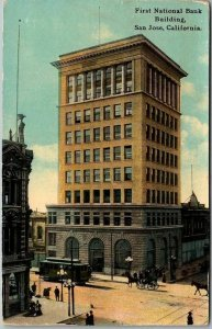 1910s San Jose CA Postcard First National Bank Building Street View PNC Unused