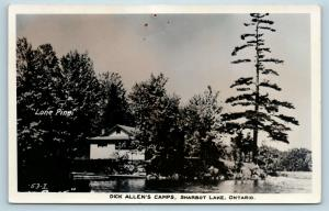 Postcard Canada Ontario Dick Allen's Camps Sharbot Lake RPPC Real Photo Q11