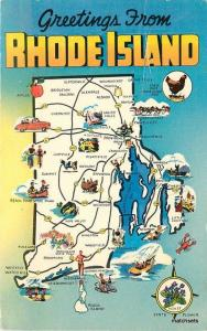 1960s Map Attractions RHODE ISLAND Postscard 1461