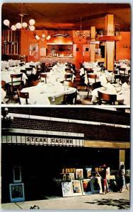 New York City Postcard STEAK CASINO Restaurant Greenwich Village 1964 Cancel