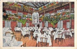 1928 Giolito Bros Cedar Garden Italian Restaurant 48th St NYC New York Postcard