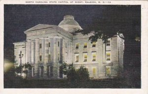 North Carolina Raleigh North Carolina State Capitol At Night Albertype