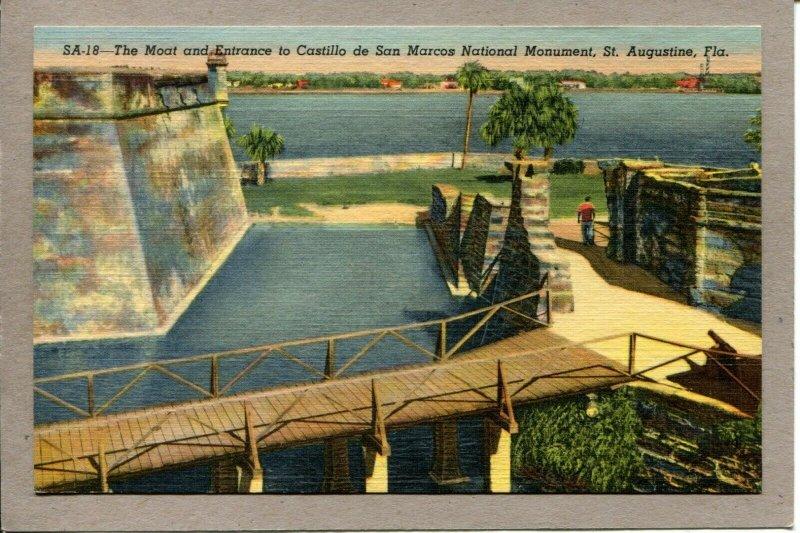 Postcard FL St. Augustine The Moat Castillo de San Marcos Linen -713