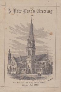 LEAMINGTON SPA, England, UK , 1880; St Paul's Church , New Year Greeting