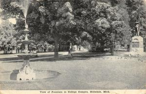 Hillsdale College Michigan~Civil War Monument on Campus~Fountain~c1910 B&W