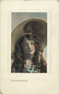 Little Coquette lovely girl hat early postcard