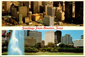 Texas Houston Greetings With Skyline and Aerial View