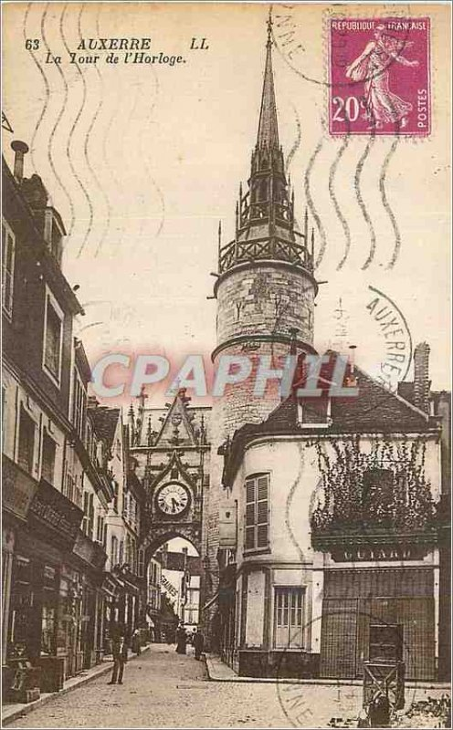 Old Postcard Auxerre The Clock Tower