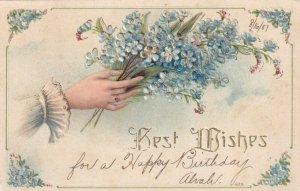 BEST WISHES, PU-1907; Hand holding bouquet of Forget-Me-Nots