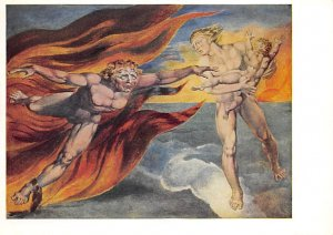 The Good and Evil angels struggling for Possession of a Child William Blake P...