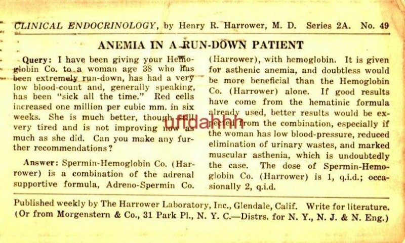 CLINICAL ENDOCRINOLOGY Henry R Harrower MD ANEMIA IN RUN-DOWN PATIENT 1923