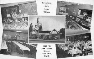 LOU'S VILLAGE San Jose, CA Roadside Restaurant Old Cars c1940s Vintage Postcard
