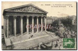 Paris Old Postcard La Madeleine and the prospect of large boulevards