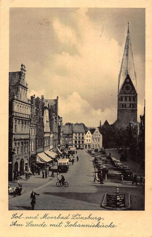 Sol und Moorbad Luneburg Am Sande mit Johanniskirche Church Cars Postcard