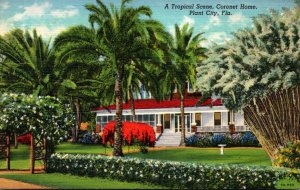Florida Plant City Coronet Home Tropical Scene Curteich