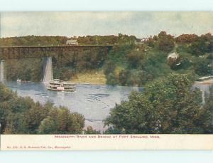 Unused Undivided BOAT & BRIDGE Ft. Fort Snelling Minnesota MN v3795