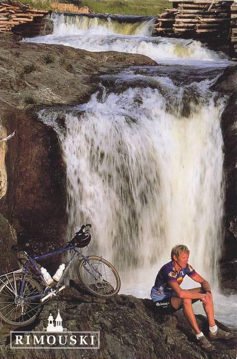 Biking the River Trails, Waterfall, La Riviere Rimouski, Rimouski, Quebec, Ca...