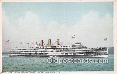 Str Washington Irving Hudson River Ship Postcard Post Card Hudson River Postc...