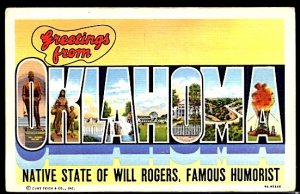 USA Postcard Large Letter Greetings From Oklahoma Will Rogers State CDS 1947