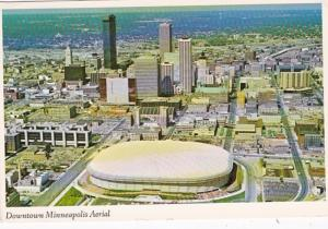 Minnesota Minneapolis Downtown Aerial View Showing Hubert H Humphrey Metrodom...