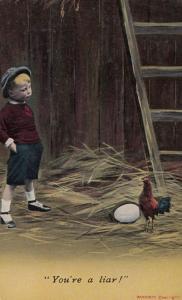 Hen Hiding His Egg Farm Boy Finding It Antique Bird Comic Humour Postcard