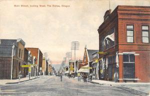 The Dalles Oregon Main Street Looking West Antique Postcard KA688816