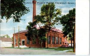FREMONT, NE Nebraska    MUNICIPAL  POWER  PLANT    1919    Postcard