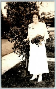 Benton Harbor~Older Mary Purnell Holds Bouquet of Roses~City of David RPPC 1940s