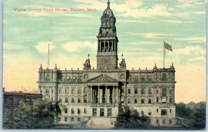 Detroit, Michigan Postcard WAYNE COUNTY COURT HOUSE Bird's-Eye View c1910s