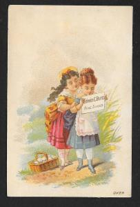 VICTORIAN TRADE CARD Edwin Burt Shoes Two Pretty Ladies c1879