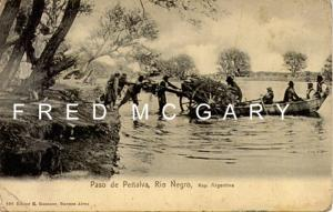 1905 Rio Negro Argentina PC, Small Boat Floats Heavy Cart Across the River