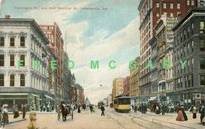 1908 Indianapolis IN PC: Washington Street from Meridian