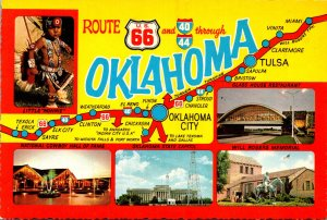 Oklahoma Map Showing Route U S 66 and 40 & 44