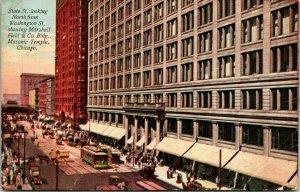 Vtg Carte Postale 1913 Chicago Illinois Il État Street Vue Maçonnique Temple