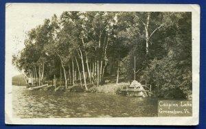 Greensboro Vermont vt Caspian Lake shore view real photo postcard RPPC