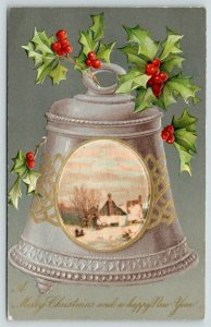 Winsch Christmas~Silk Country Cottage Inset~Silver & Gold Bell~Embossed~Holly~PC