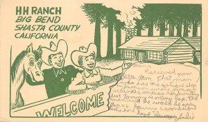 HH RANCH Big Bend CA Shasta County California Vintage Postcard 1955