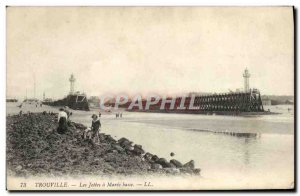 Old Postcard Trouville The Jetee has low Maree