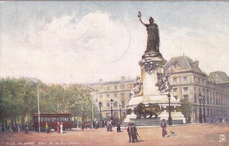 TUCK #7168, VILLE DE PARIS, France; Place de la Republique, PU-1905
