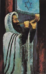 ARTIST Morris Katz, Jewish Theme Postcard; The Shofar's Call, 1968