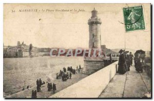 Postcard Marseille Old Lighthouse Ste Marie and Jetee