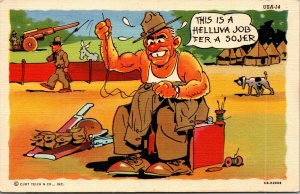 Linen Comic Postcard SOLIDER HUMOR MILITARY POSTED WW2 Curteich POSTCARD
